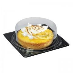 Part de tarte ronde fond noir avec couvercle transparent - par 720