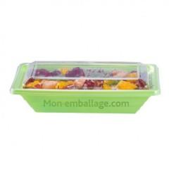 Barquette salade Pyramipack verte anis 500 gr avec couvercle indépendant - par 40