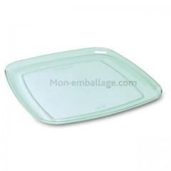 Plateau traiteur carré vert transparent 27 x 27 cm