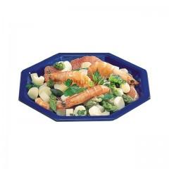 Assiette plastique octogonale 18,5 cm bleue - par 50
