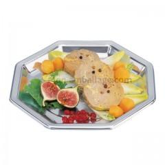Assiette plastique octogonale 24 cm argent - par 400