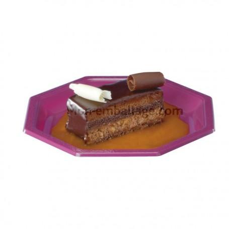 Assiette plastique octogonale 24 cm fuschia