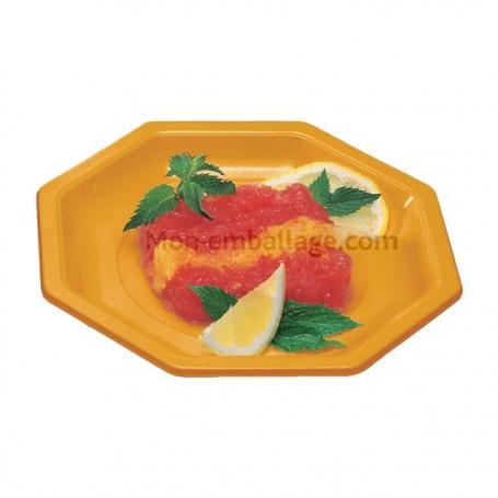 Assiette plastique octogonale orange 24 cm