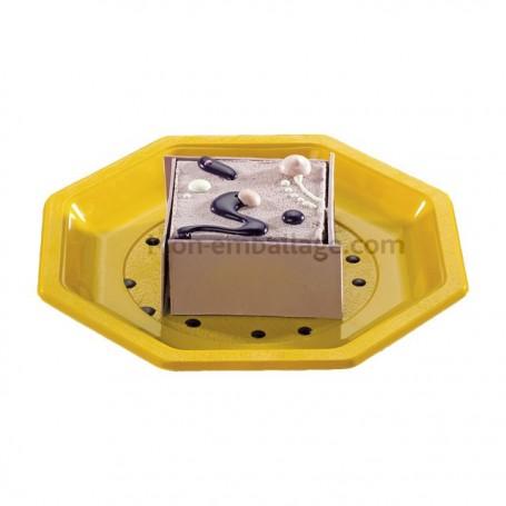 Assiette plastique octogonale jaune 24 cm