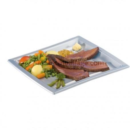 Assiette carrée nacrée 24 cm en plastique - par 50