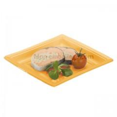 Assiette carrée orange 24 cm en plastique - par 50