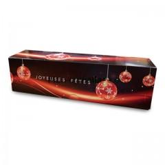 Boites à buche décor joyeuses fêtes 40 x 11 x 11 cm - par 25