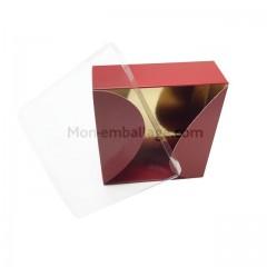 Boite gourmande rouge 400 gr pour 12 macarons 12 x 12 x 4,5 cm - par 10
