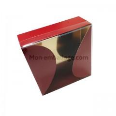 Grande boite gourmande rouge 800 gr pour 24 macarons 16 x 16 x 4,5 cm - par 10