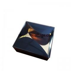 Boite gourmande noire 400 gr pour 12 macarons 12 x 12 x 4,5 cm - par 10