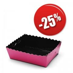 Caissette dentelée ingraissable rose / noire 10 x 7,5 x 3,5 cm - par 50