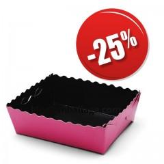 Caissette dentelée ingraissable rose / noire 13 x 9 x 3,5 cm - par 50