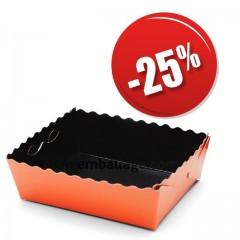 Caissette dentelée ingraissable orange / noire 19 x 12 x 3,5 cm - par 50