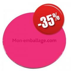 Rond carton ingraissable 26 cm rose / noir - par 50
