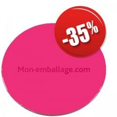 Rond carton ingraissable 28 cm rose / noir - par 50