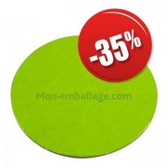 Rond carton ingraissable 22 cm vert / noir - par 50