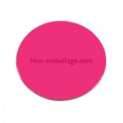 Rond carton ingraissable 14 cm rose / noir - par 50