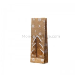 Sachet SOS kraft brun motifs Noël 7 x 4 x 20 cm avec fenêtre - par 50