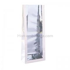 Sachet plastique SOS fond carton 8 x 4 x 20 cm blanc nacré - par 50