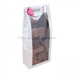 Sachet plastique SOS fond carton 8 x 4 x 20 cm blanc nacré