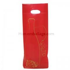 Sac 2 bouteilles plastique rouge et or 16 x 4 x 46 cm