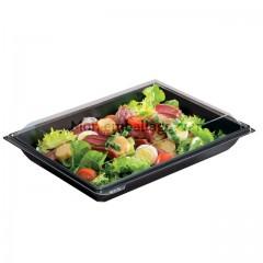 Boite plastique à salade TAKIPACK noire 900 gr avec couvercle