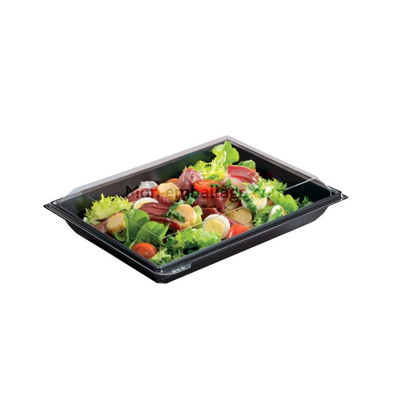 boite plastique salade 900 ml noire takipack avec couvercle. Black Bedroom Furniture Sets. Home Design Ideas