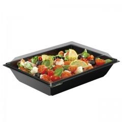 Boite plastique à salade TAKIPACK noire 1200 ml avec couvercle cristal - par 360