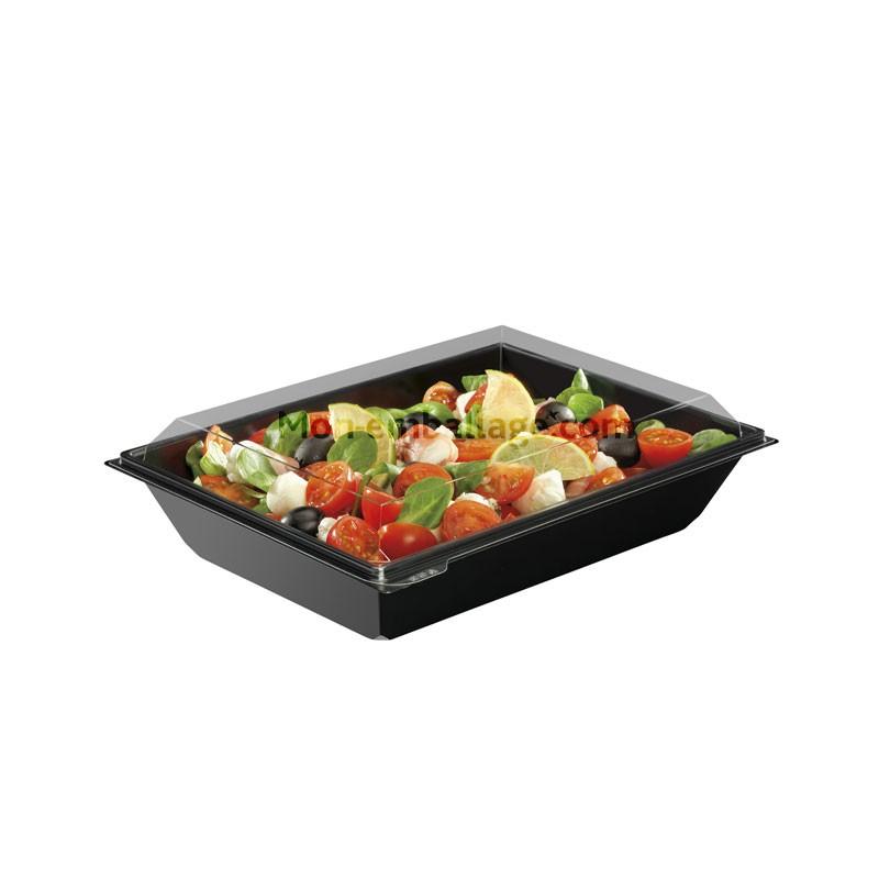 grande boite plastique salade noire 1 2 litres takipack avec couvercle. Black Bedroom Furniture Sets. Home Design Ideas
