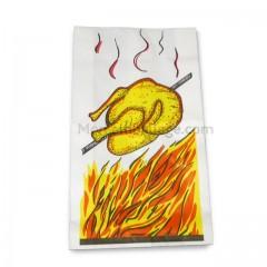 Sac poulet kraft blanc ingraissable 18 x 6 x 32,5 cm pour poulet rôti - par 500