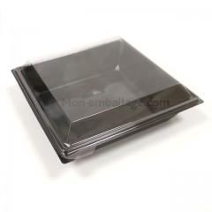 Boite plastique à salade TAKIPACK noire 850 gr avec couvercle - par 360