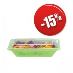 Barquette salade Pyramipack verte anis 500 gr avec couvercle indépendant pas cher