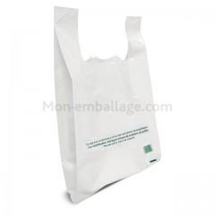 Sac bretelles reutilisable blanc 50 microns 30 x 7 x 50 cm