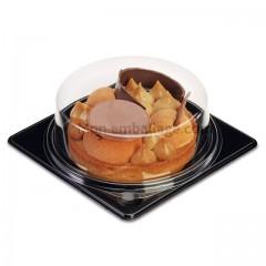 Part de tarte ronde fond noir avec couvercle transparent