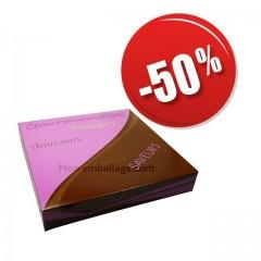 Boîte pâtissière violette 29 x 29 x 5 cm décor SMACK pas cher