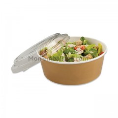 Bol salade kraft brun 1000ml avec couvercle - par 150