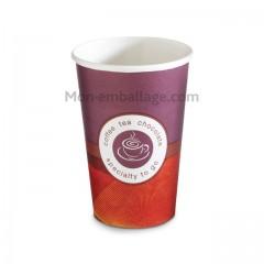 Gobelet violet et rouge en carton 40 cl pour boissons chaudes - par 50