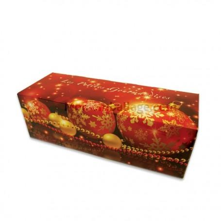 Boites à buche décor Noël rouge 30 x 11 x 10,5 cm - par 25