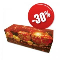 Boites à buche décor Noël rouge 35 x 11 x 10,5 cm - par 25
