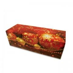 Boites à buche décor Noël rouge 40 x 11 x 10,5 cm - par 25