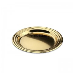 Assiette ronde dorée diamètre 8,5 cm - par 125