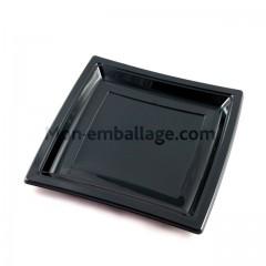 Assiette carrée noire 18,5 cm en plastique - par 50