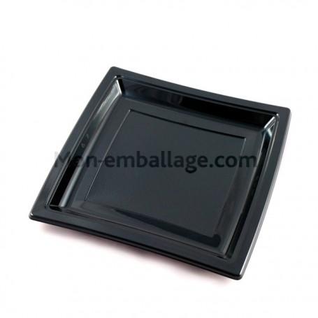 Assiettes carrées noires 18,5 cm en plastique - par 50