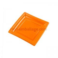 Assiette carrée orange 18,5 cm en plastique - par 50