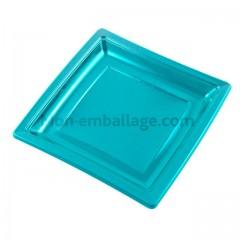 Assiette carrée turquoise 24 cm en plastique - par 50