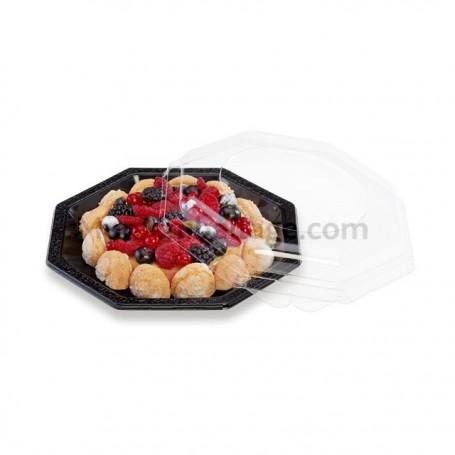 Assiette plastique octogonale 18,5 cm noire - par 50