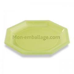 Assiette plastique octogonale verte anis 24 cm - par 400
