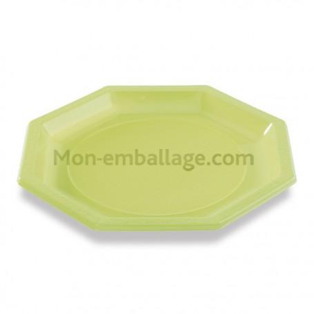 Assiette plastique octogonale verte anis 24 cm