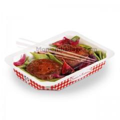 Barquette scellable 500 ml en carton décor rouge Vichy - par 585