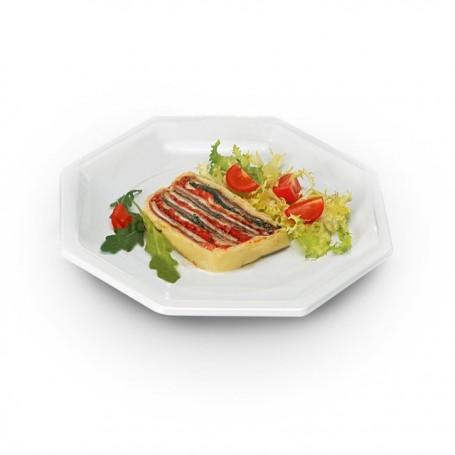 Assiette plastique octogonale 18,5 cm blanche